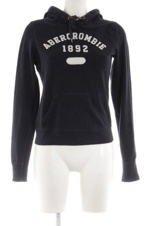 Abercrombie & Fitch Felpa con cappuccio nero-bianco sporco caratteri stampati