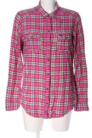 Abercrombie & Fitch Camicia a scacchi rosa-lilla stampa integrale stile casual