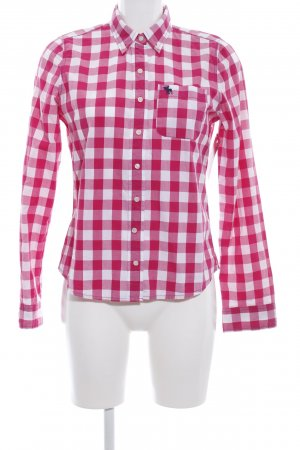 Abercrombie & Fitch Karobluse weiß-pink Karomuster Casual-Look