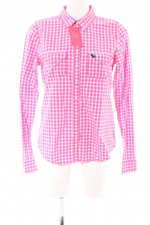 Abercrombie & Fitch Karobluse pink-weiß Allover-Druck Casual-Look