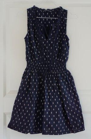Abercrombie & Fitch Robe courte bleu foncé-blanc coton