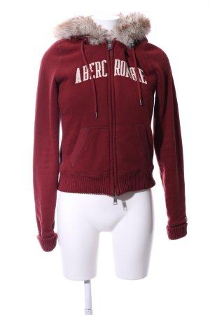 Abercrombie & Fitch jacke rot-wollweiß Schriftzug gedruckt Casual-Look