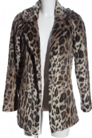 Abercrombie & Fitch Cappotto in eco pelliccia marrone-crema stampa integrale