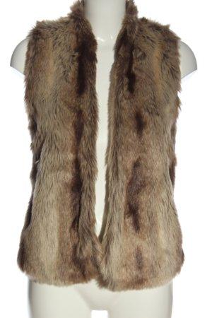 Abercrombie & Fitch Chaleco de piel sintética marrón-blanco puro elegante