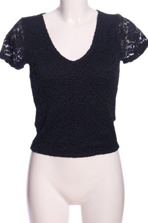 Abercrombie & Fitch Kurzarm-Bluse schwarz Elegant
