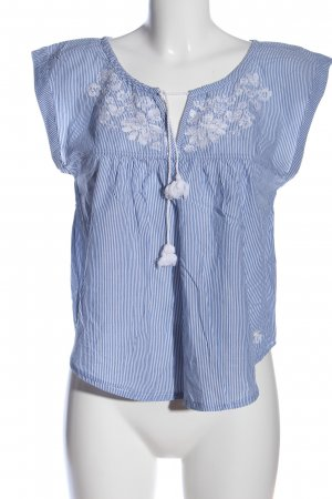 Abercrombie & Fitch Kurzarm-Bluse blau-weiß Blumenmuster Casual-Look