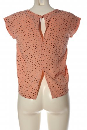 Abercrombie & Fitch Kurzarm-Bluse nude-schwarz Punktemuster Business-Look