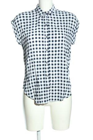 Abercrombie & Fitch Kurzarm-Bluse weiß-schwarz Karomuster Casual-Look