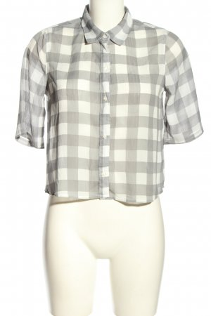 Abercrombie & Fitch Kurzarm-Bluse hellgrau-weiß Karomuster Casual-Look