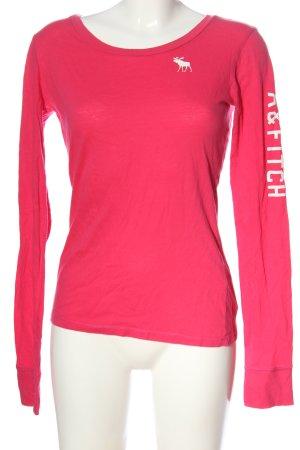Abercrombie & Fitch Camicetta a maniche lunghe rosa-bianco Stampa a tema