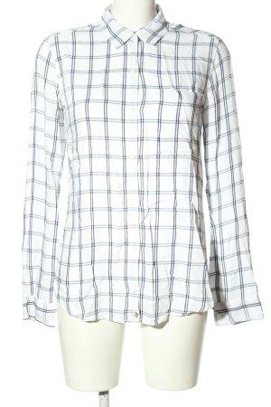 Abercrombie & Fitch Langarm-Bluse weiß-schwarz Karomuster Business-Look