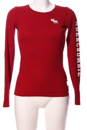 Abercrombie & Fitch Langarm-Bluse rot-weiß Schriftzug gedruckt Casual-Look