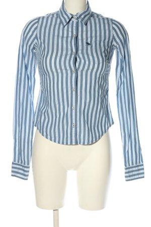 Abercrombie & Fitch Langarm-Bluse weiß-blau Streifenmuster Business-Look