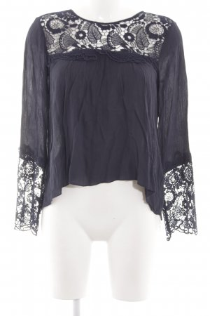 Abercrombie & Fitch Langarm-Bluse schwarz Blumenmuster Elegant