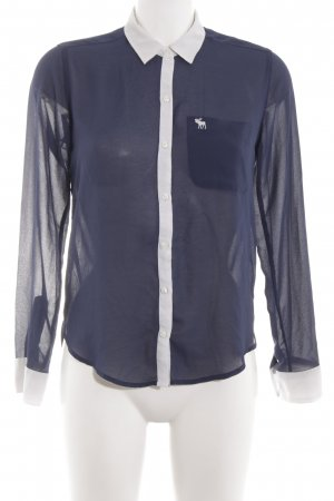 Abercrombie & Fitch Long Sleeve Blouse blue-white
