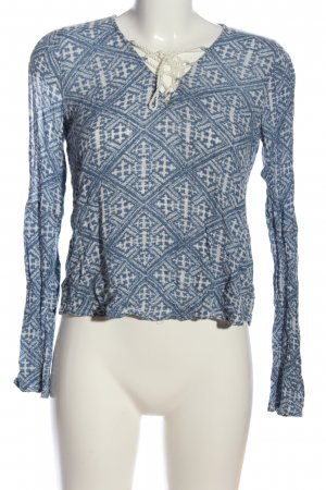 Abercrombie & Fitch Langarm-Bluse blau-weiß abstraktes Muster Casual-Look