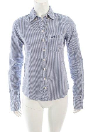 Abercrombie & Fitch Langarm-Bluse weiß-blau Streifenmuster klassischer Stil