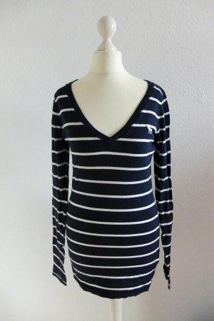 Abercrombie & Fitch Langarm Shirt dunkelblau weiß gestreift Gr. S 36