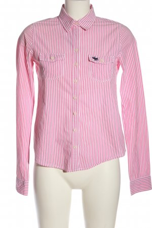 Abercrombie & Fitch Langarmhemd pink-weiß Streifenmuster Casual-Look