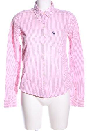 Abercrombie & Fitch Langarmhemd pink-weiß Streifenmuster Business-Look