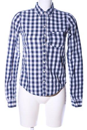 Abercrombie & Fitch Langarmhemd weiß-blau Allover-Druck Business-Look