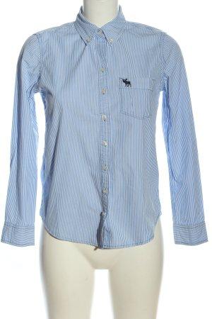 Abercrombie & Fitch Langarmhemd weiß-blau Streifenmuster Casual-Look