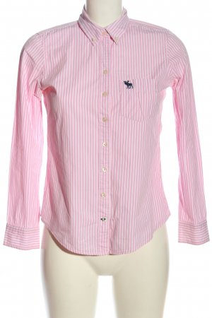 Abercrombie & Fitch Langarmhemd weiß-pink Streifenmuster Business-Look