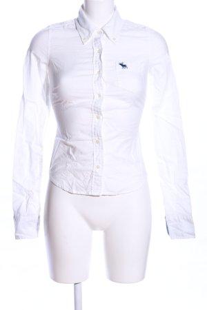 Abercrombie & Fitch Langarmhemd weiß Schriftzug gestickt Casual-Look