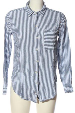Abercrombie & Fitch Koszula z długim rękawem biały-niebieski Wzór w paski