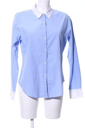 Abercrombie & Fitch Langarmhemd blau-weiß Business-Look