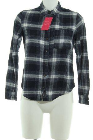 Abercrombie & Fitch Langarmhemd dunkelblau-weiß Karomuster Casual-Look