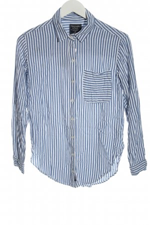 Abercrombie & Fitch Long Sleeve Shirt blue-white striped pattern business style