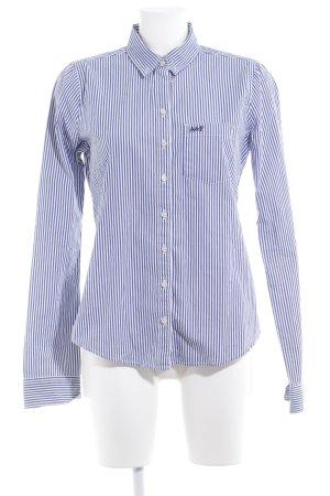 Abercrombie & Fitch Langarmhemd kornblumenblau-weiß Streifenmuster