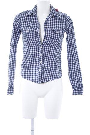 Abercrombie & Fitch Langarmhemd weiß-dunkelblau Casual-Look
