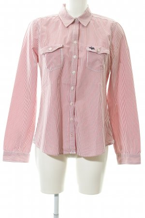 Abercrombie & Fitch Langarmhemd weiß-hellrot Streifenmuster