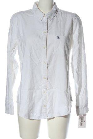 Abercrombie & Fitch Langarmhemd weiß Schriftzug gestickt Business-Look
