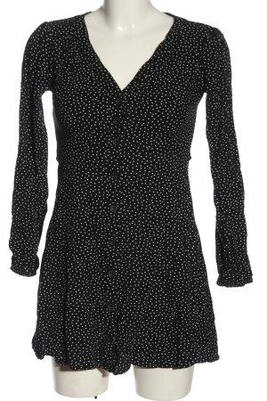 Abercrombie & Fitch Langarmkleid schwarz-weiß Allover-Druck Casual-Look