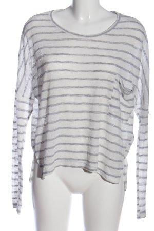 Abercrombie & Fitch Longshirt weiß-hellgrau Streifenmuster Casual-Look