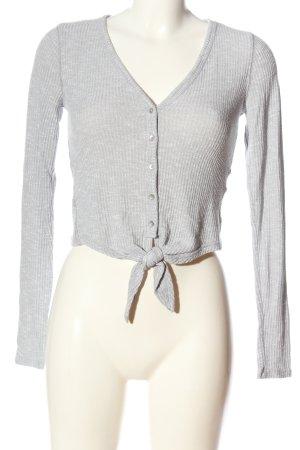 Abercrombie & Fitch Top à manches longues gris clair motif rayé