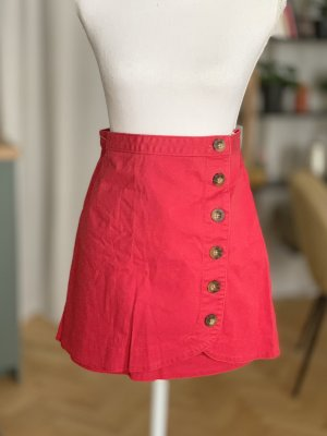 Abercrombie & Fitch High Waist Skirt red cotton