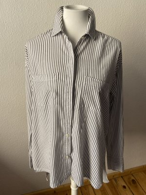 Abercrombie & Fitch Oversized Blouse white-steel blue cotton