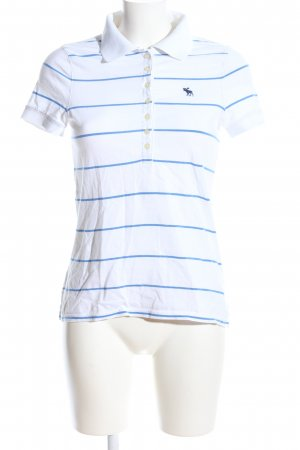 Abercrombie & Fitch Polo bianco-blu caratteri ricamati stile casual