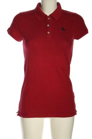Abercrombie & Fitch Polo-Shirt rot Schriftzug gestickt Casual-Look