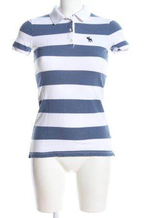 Abercrombie & Fitch Polo blu-bianco caratteri stampati stile casual