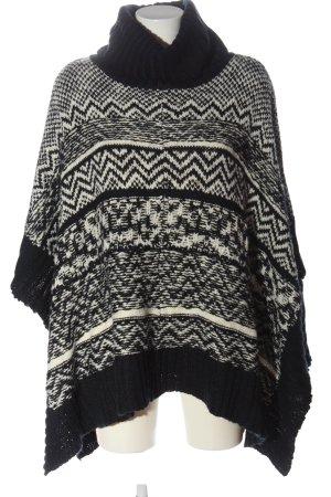 Abercrombie & Fitch Poncho noir-blanc imprimé allover style décontracté
