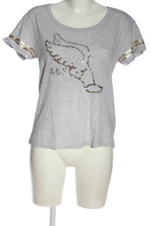 Abercrombie & Fitch Koszulka z nadrukiem jasnoszary-srebrny Melanżowy