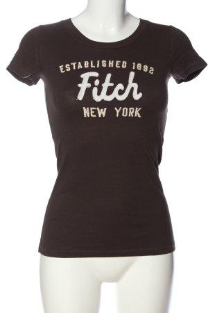 Abercrombie & Fitch Print-Shirt braun Schriftzug gedruckt Casual-Look