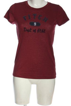 Abercrombie & Fitch Print-Shirt rot Schriftzug gestickt Casual-Look