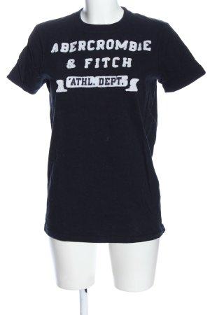 Abercrombie & Fitch Print-Shirt schwarz-weiß Schriftzug gedruckt Casual-Look