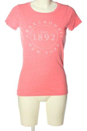 Abercrombie & Fitch Print-Shirt pink-weiß Schriftzug gedruckt Casual-Look
